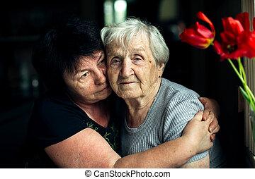 abrazo, adulto, daughter., mujer, viejo, ella