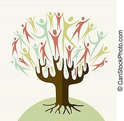 abrazo, conjunto, diversidad, árbol