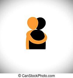 abrazo, gente, otro, graphic., -, vector, abrazo, cada, amigos