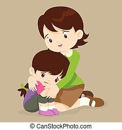 abrazos, niña, profesor, comodidad