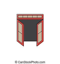 Abre el icono vectorial de doble puerta aislado en el fondo blanco