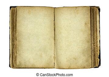 Abre el viejo libro en blanco