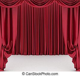 Abre la cortina de teatro rojo