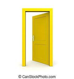 Abre una sola puerta amarilla