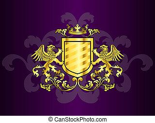 Abrigo dorado de brazos con grifos