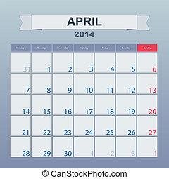 abril, calendario, monthly., 2014, horario