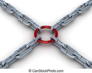 abrochado, image., cadena, ring., rojo, 3d