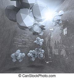 Abstracción 3d diseño de polígono bajo para la red de nubes