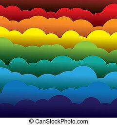 Abstracción colorida de 3D de fondo de nubes de papel. Esta ilustración contiene capas de nubes formadas usando papel en colores como rojo, naranja, amarillo, verde y azul