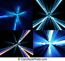 Abstracción de brillante conjunto de rayos azules coloridos vectores