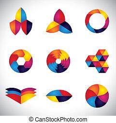 Abstracción de elementos coloridos de diseño vector iconos