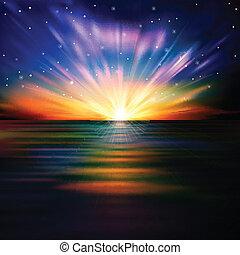 Abstracción de fondo con el amanecer del mar y las estrellas