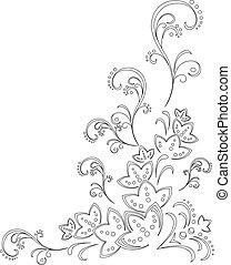 Abstracción de fondo floral, contorno