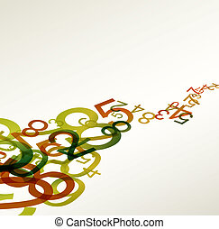 Abstracción de fondo retro con números coloridos del arco iris