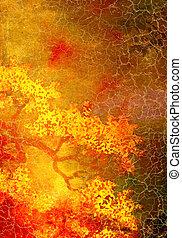 Abstracción de fondo texturado con patrones florales amarillos y rojos en el fondo marrón