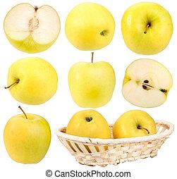 Abstracción de manzanas amarillas frescas