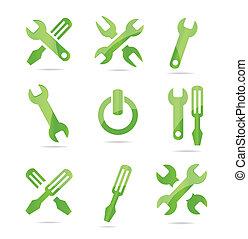 Abstracción de símbolos industriales de color verde