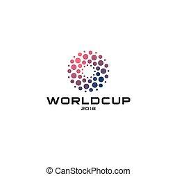 Abstracción de vector circular logotipo vectorial, inusual logotipo aislado, puntos icono. Un emblema de la Copa del Mundo, etiqueta solar, ilustración vectorial.