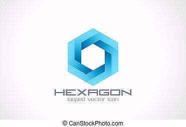 abstract., empresa / negocio, ciencia, theme., logotipo, hexágono, tecnología