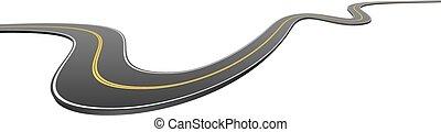 Abstract wavy asphalt road yendo de lado a lado