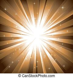 Abstractas estrellas resplandecientes de fondo dorado