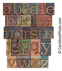 abstracto alfabeto, tipo de letras de madera