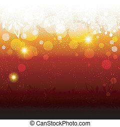 Abstracto brillante fondo de copos de nieve rojos