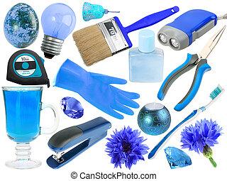 Abstracto conjunto de objetos azules