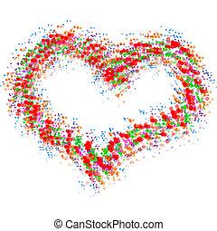 Abstracto corazón colorido aislado en blanco