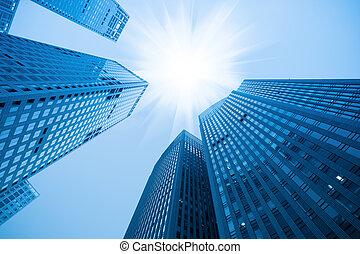 Abstracto edificio azul rascacielos