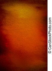 Abstracto fondo texturado con rojo, marrón y patrones amarillos en el telón naranja