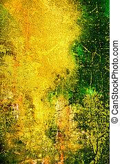 Abstracto fondo texturado con verde, naranja y patrones marrones en el telón amarillo