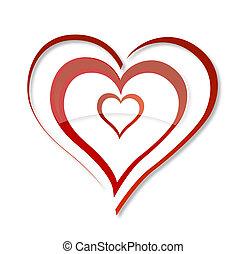 Abstracto remolino de amor símbolo del color rojo