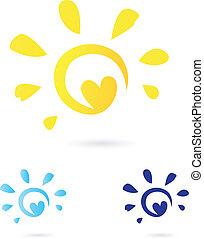 Abstracto vector solar icono con Corazón amarillo y azul