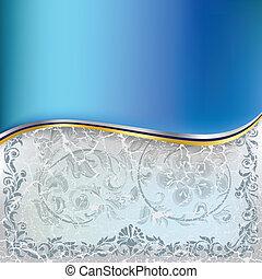 Abstractos adornos florales azules en un fondo blanco