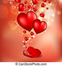 Abstractos corazones rojos. La tarjeta de San Valentín