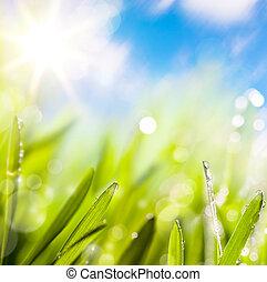 Abstractos de fondo verde primaveral natural
