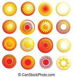 Abstractos y brillantes iconos solares