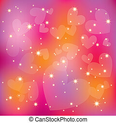 Abstrae a St. Valentine corazones coloridos estrellas de fondo claro