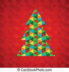 Abstrae el árbol de Navidad con fondo rojo