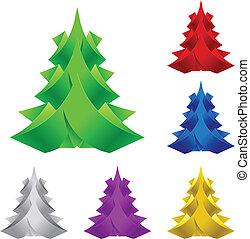 Abstrae el árbol de Navidad de papel.