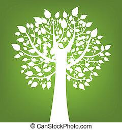 Abstrae el árbol en verde fondo