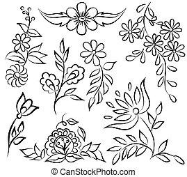 Abstrae el arreglo floral blanco y negro en forma de ángulo fronterizo. Aislado de fondo blanco