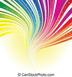 Abstrae el color del arco iris de fondo con estrellas