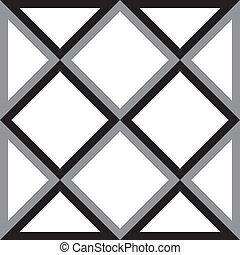 Abstrae el cuadrado de diamantes y el triangulo de la ilusión tridimensional