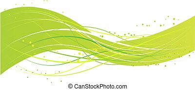 Abstrae el diseño de ondas verdes