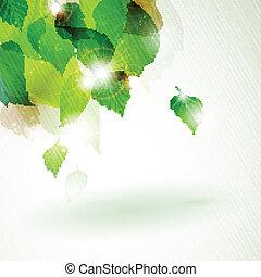 Abstrae el follaje verde con efectos luminosos