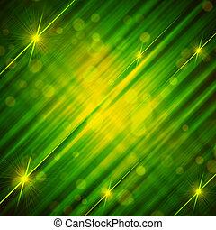 Abstrae el verde fondo amarillo con líneas brillantes y estrellas