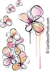 Abstrae flores de acuarela, vector