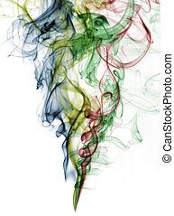 Abstrae humo de color de fondo blanco